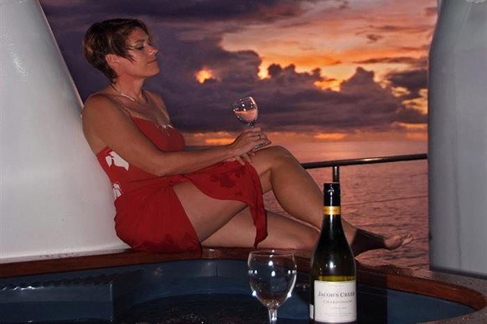 Relax and enjoy the sunset views onboard Ocean Hunter 3